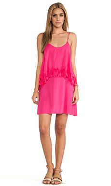 L*SPACE Wilde Fringe Mini Dress in Hot Pink