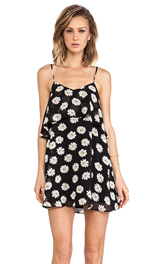 Lucca Couture Mini Tank Dress in Black Daisies