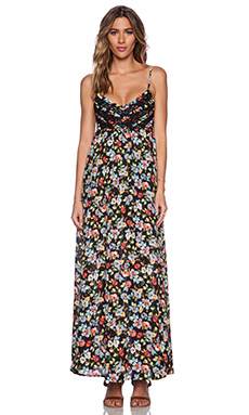 Lucca Couture Maxi Dress in Black Floral
