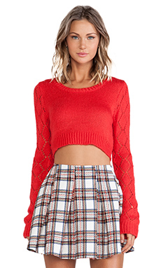 Lucca Couture Crop Sweater in Red
