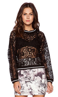 Lucca Couture Lace Sweater in Black