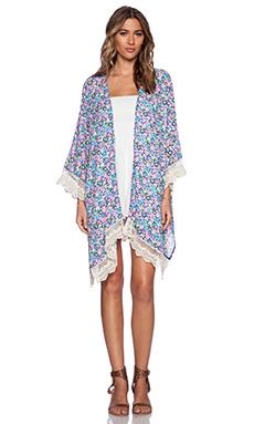 Lucca Couture Floral Kimono in Blue & Pink Multi