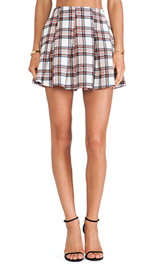 Lucca Couture Mini Skirt in White Plaid