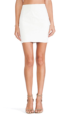 Lucca Couture Faux Leather Skirt in White