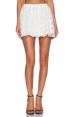 Lucca Couture High Waisted Lace Skirt in White