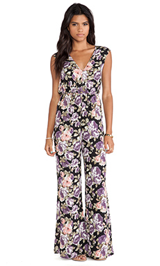 Lucca Couture V Neck Jumpsuit in Lavender Berry Floral