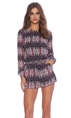 Lucca Couture Long Sleeve Romper in Black & Wine