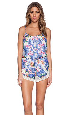 Lucca Couture Romper in Blue Tropical