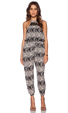 Lucca Couture Printed Jumpsuit in Black Meadow