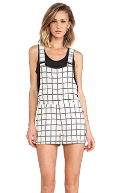 Lucca Couture Plaid Overalls in Ivory & Black