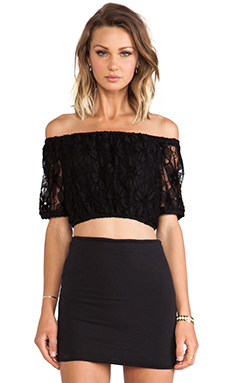 Lucca Couture Off The Shoulder Crop Top in Black