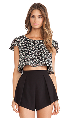Lucca Couture Cropped Tee in Black Floral
