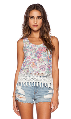 Lucca Couture Tank Top in Ivory Sketch Floral