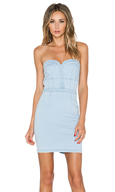 Lucy Paris Betty Bustier Bodycon Dress in Light Wash
