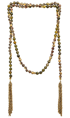 Lucky Star Gypset Tassel Wrap Necklace in Olive