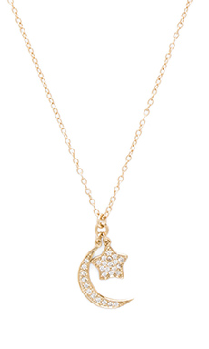 Lucky Star Shoot for the Moon Necklace in Gold