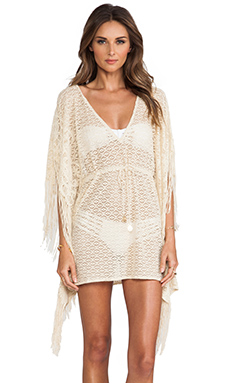 Luli Fama Flirty Fringe Caftan Dress in Liquid Sand