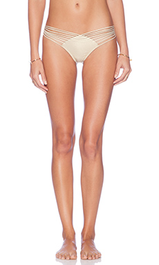 Luli Fama Cosita Buena Ruched Bikini Bottom in Gold Rush