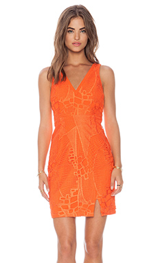 Lumier Dance in the Rain Deep-V Dress in Orange