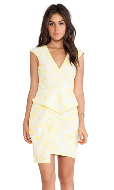 Lumier Eternally Entwined Peplum Dress in Yellow