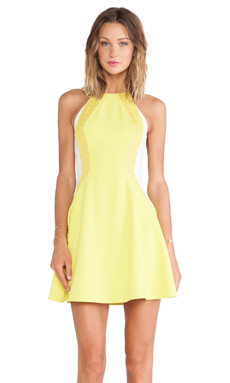 Lumier Light It Up Flare Dress in Yellow & Nude
