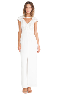 Lumier Hunt and Gather Maxi Dress in White & Nude