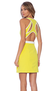 Lumier Aspire to Inspire Open Back Flare Dress in Yellow & White