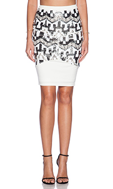 Lumier Diamond In The Rough Midi Skirt in Silver Sequin & White Contrast