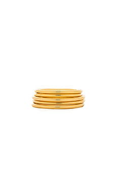Luv AJ The Petite Band Ring Set of 5 in Gold