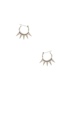 Luv AJ The Crown Hoop Earrings in Antique Silver