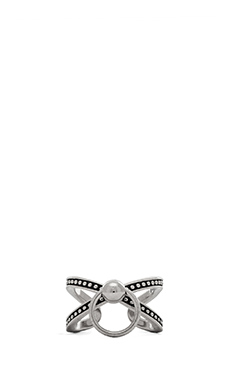 Luv AJ Ring of Fire Cross Ring in Silver Ox