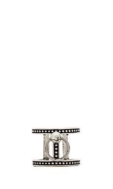 Luv AJ Ring of Fire T-Bar Ring in Silver Ox