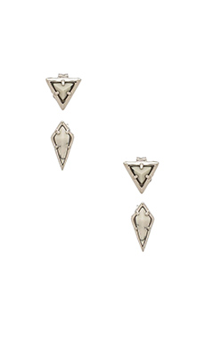 Luv AJ The Marble Stud Earring Set in Silver