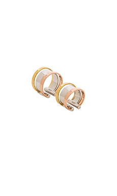 Luv AJ The Tri Color Ring Set in Gold & Silver & Rose Gold