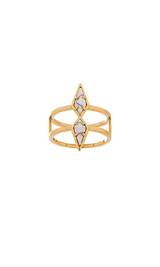 Luv AJ The Double Diamond Marble Ring in Gold