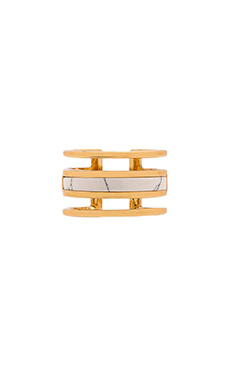 Luv AJ The Tri Bar Marble Ring in Gold