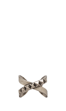 Luv AJ The Criss Cross Punk Stud Ring in Antique Nickel