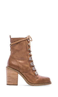Luxury Rebel Mara Lace Up Booties in Taupe