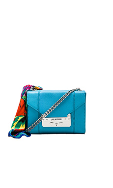 Love Moschino Saffiano I Love Scarf Crossbody in Sky Blue