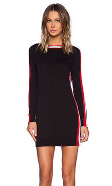 Love Moschino Black long Sleeve Sweater Dress with Stripes in Black
