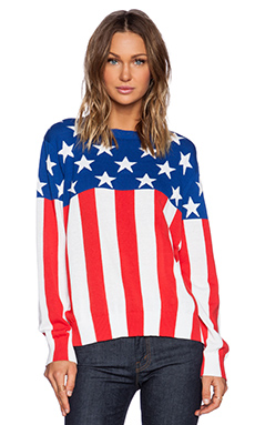 Love Moschino Flag Sweater in Red & Blue Multi