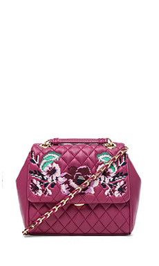 Love Moschino I Love Embroidery Shoulder Bag in Fuxia