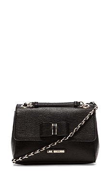 Love Moschino I Love Bow Shoulder Bag in Nero