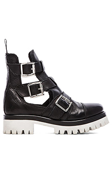 Love Moschino Black & White Cut Out Boot in Nero