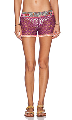 Maaji Contrast Shorts in Currant Lace