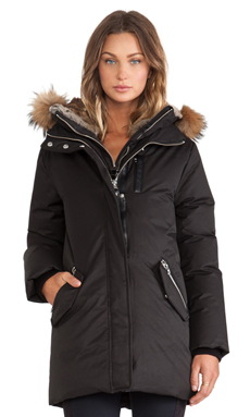 Mackage Marla Jacket with Asiatic Raccoon and Rabbit Fur Hood in Black