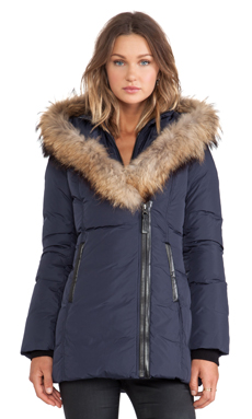 Mackage Adali Jacket with Asiatic Racoon Fur Trim in Ink