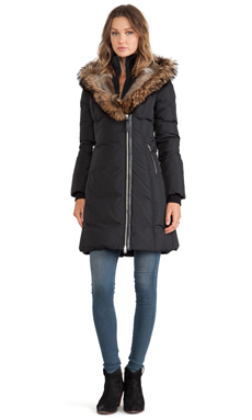 Mackage Trish Jacket with Asiatic Racoon and Rabbit Fur Hood in Black