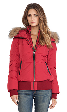 Mackage Romane Jacket with Fur in Cherry