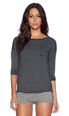 MAISON DU SOIR Greta Long Sleeve Top in Black & White Stripe